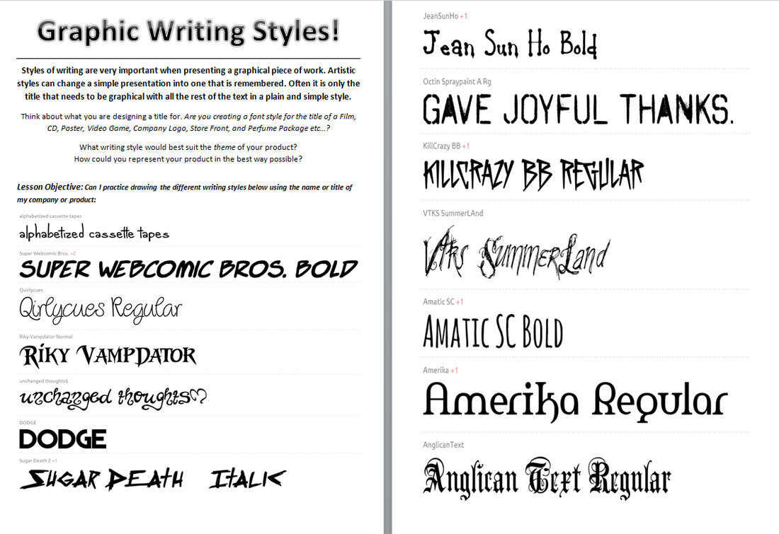 Practicing Writing Styles And Various Fonts 1 Complete The Following Worksheets On A Seperate Piece Of A3 Paper Your Title Is Graphic