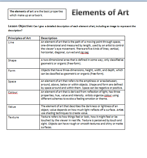 6 Elements Of Art : Elements of art for kids